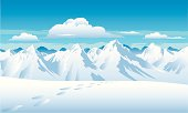 Snow capped mountains with footprints and a background of blue sky and clouds. Art on easily edited grouped layers.