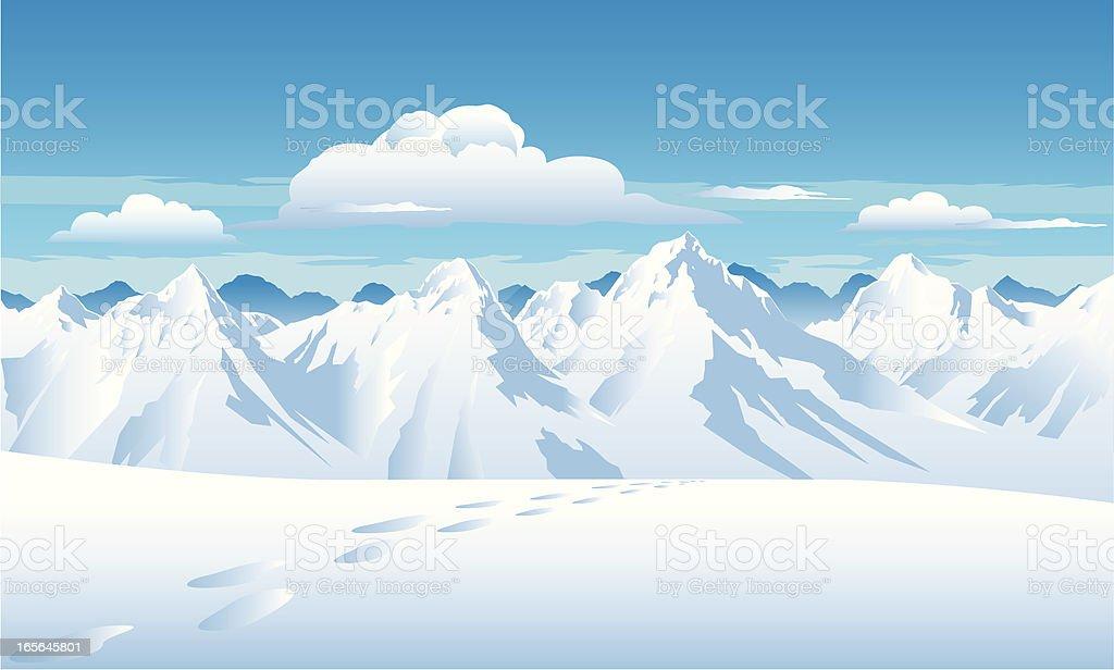 Mountain Snow vector art illustration