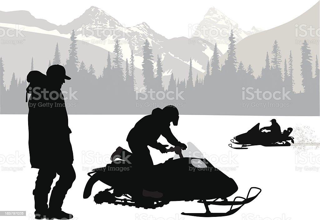 Mountain Snow Vector Silhouette royalty-free stock vector art