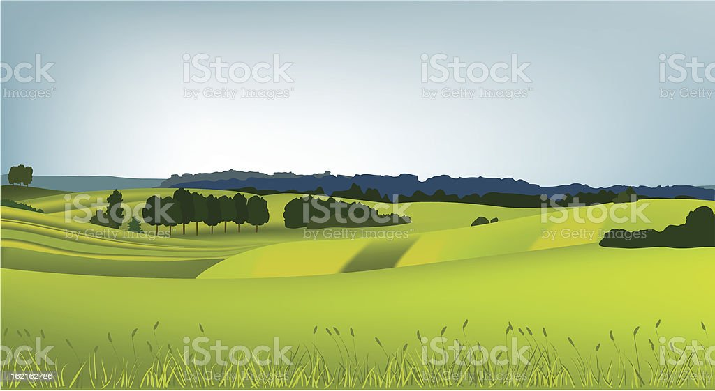 Mountain spring landscape with green royalty-free stock vector art