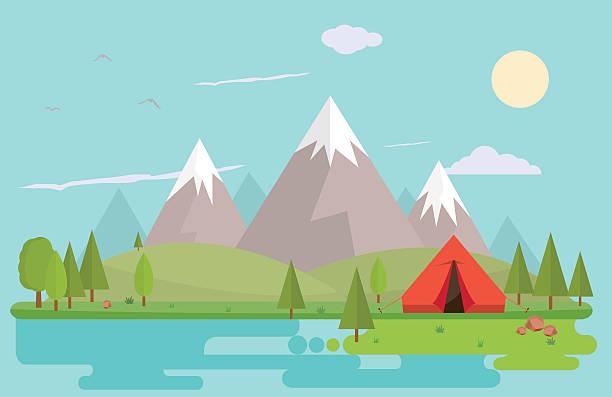 Mountain summer landscape vector art illustration