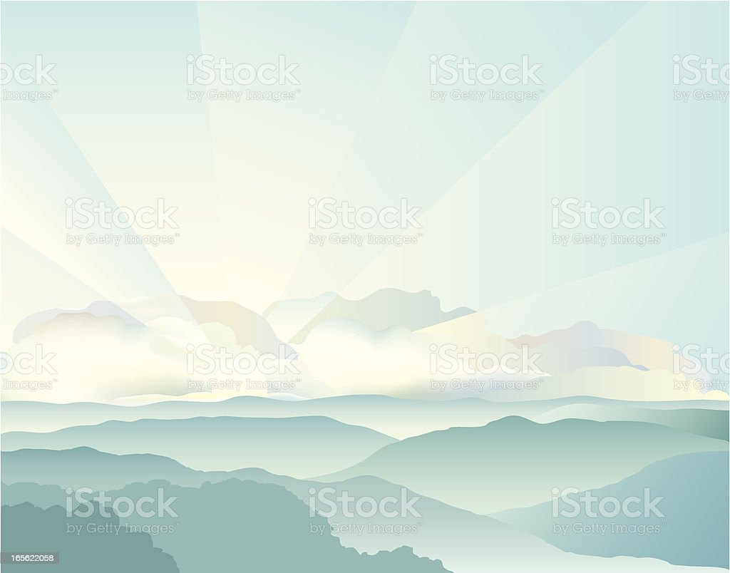 Mountain Sunrise vector art illustration