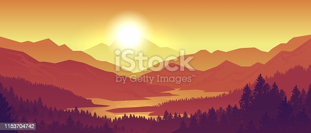 istock Mountain sunset landscape. Realistic pine forest and mountain silhouettes, evening wood panorama. Vector wild nature background 1153704742