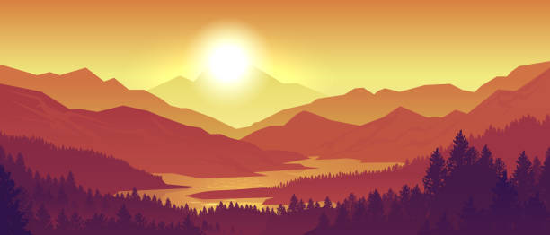 Mountain sunset landscape. Realistic pine forest and mountain silhouettes, evening wood panorama. Vector wild nature background Mountain sunset landscape. Realistic pine forest and mountain silhouettes, evening wood panorama. Vector illustration wild nature background dusk stock illustrations