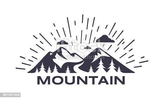 Mountain symbol background illustration.