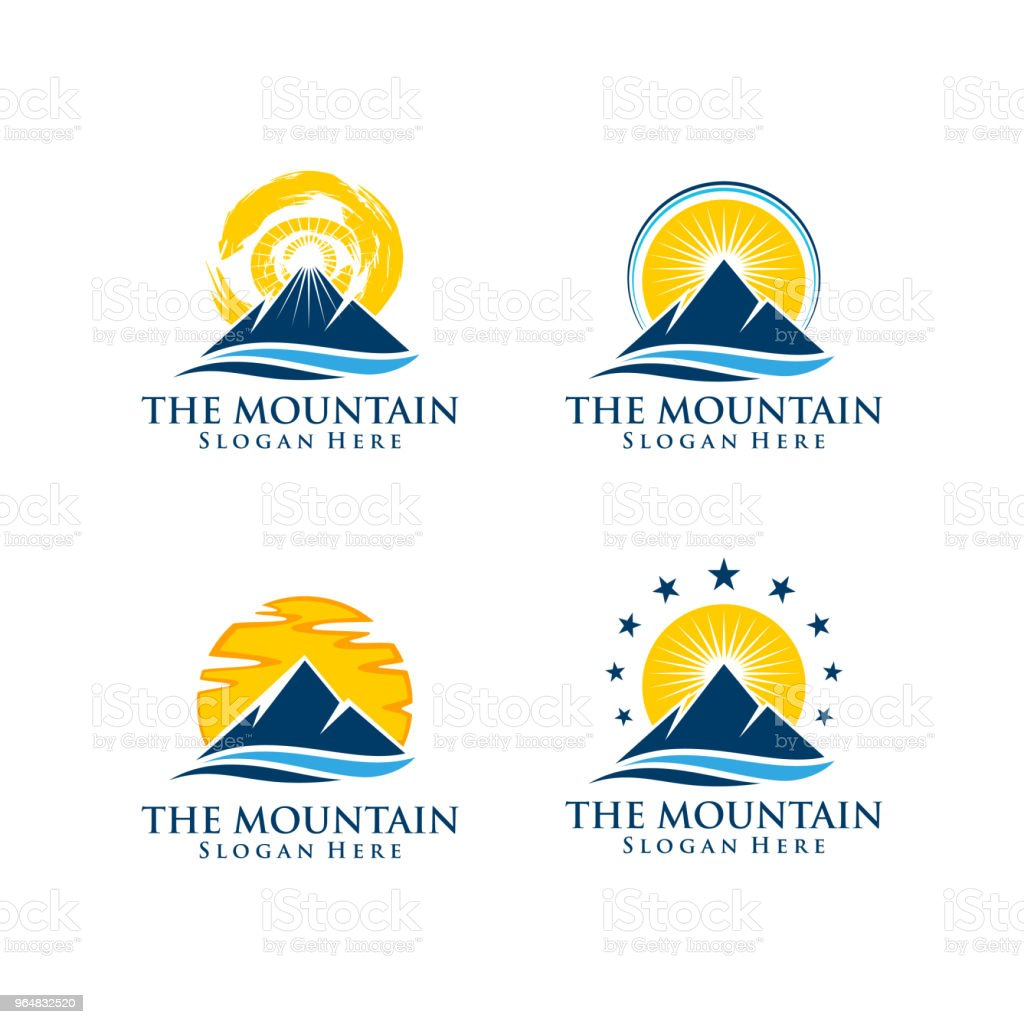 Mountain Symbol with Sun Concept Vector Design royalty-free mountain symbol with sun concept vector design stock vector art & more images of abstract