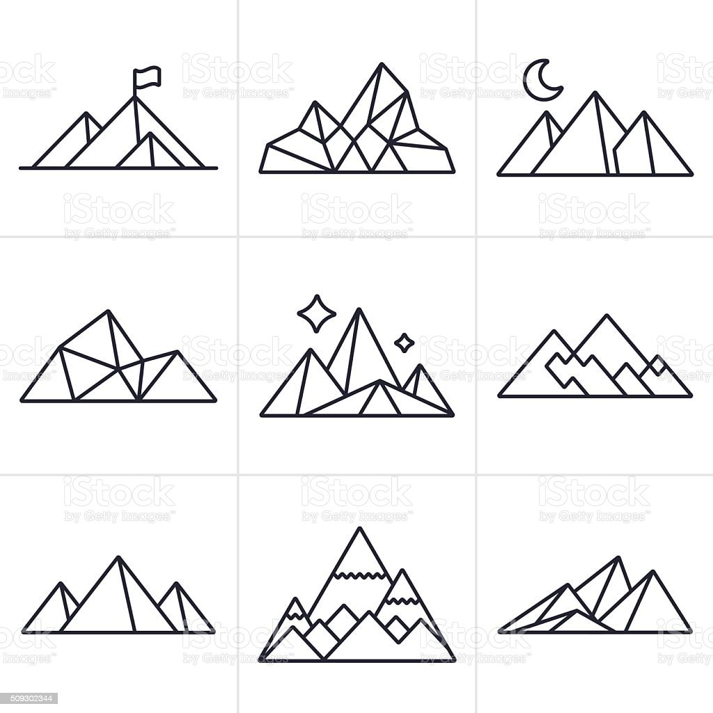Mountain Symbols and Icons vector art illustration