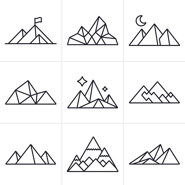 mountain symbols and icons - black and white mountain stock illustrations, clip art, cartoons, & icons