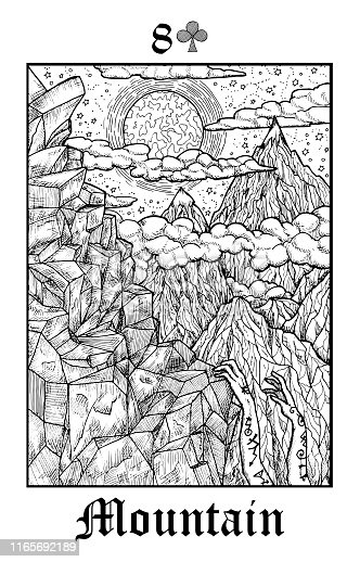 Mountain. Tarot card from vector Lenormand Gothic Mysteries oracle deck.
