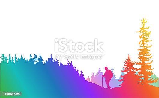 istock Mountain Top Hiking Rainbow 1195653467