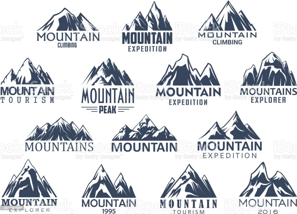 Mountain tourism and sport vector icons set vector art illustration