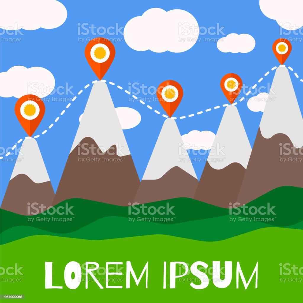Mountain tourism vector illustration. royalty-free mountain tourism vector illustration stock vector art & more images of blue