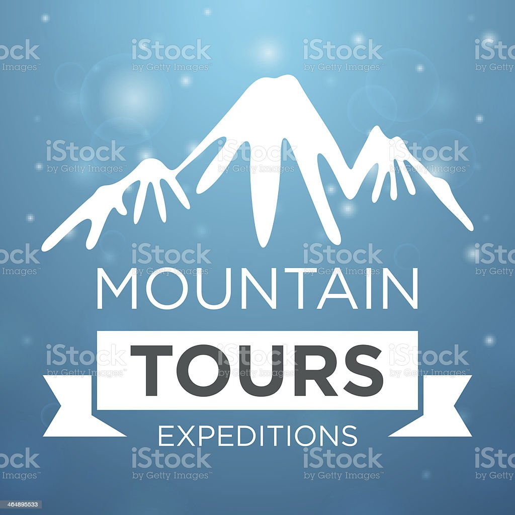Mountain tours expedition on blue background vector art illustration
