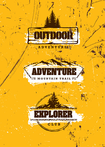 Mountain Trail Outdoor Adventure Sign Concept. Wilderness Survival Gear Illustration On Grunge Background With Pine Trees