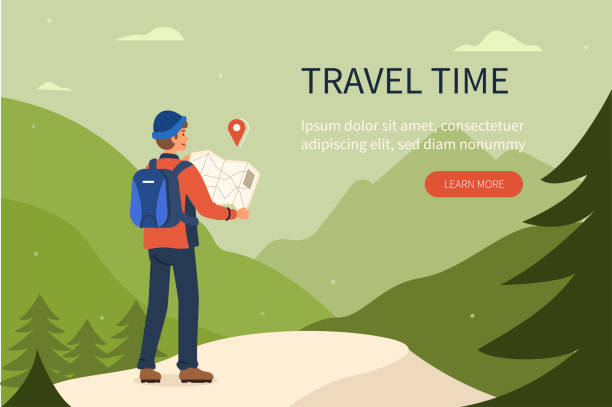 mountain travel Mountain travel concept template. Can use for web banner, infographics, hero images. Flat cartoon vector illustration isolated on white background. hiking stock illustrations