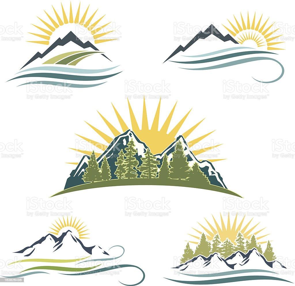 Bergen, Bäumen und Fluss Icon-Set – Vektorgrafik