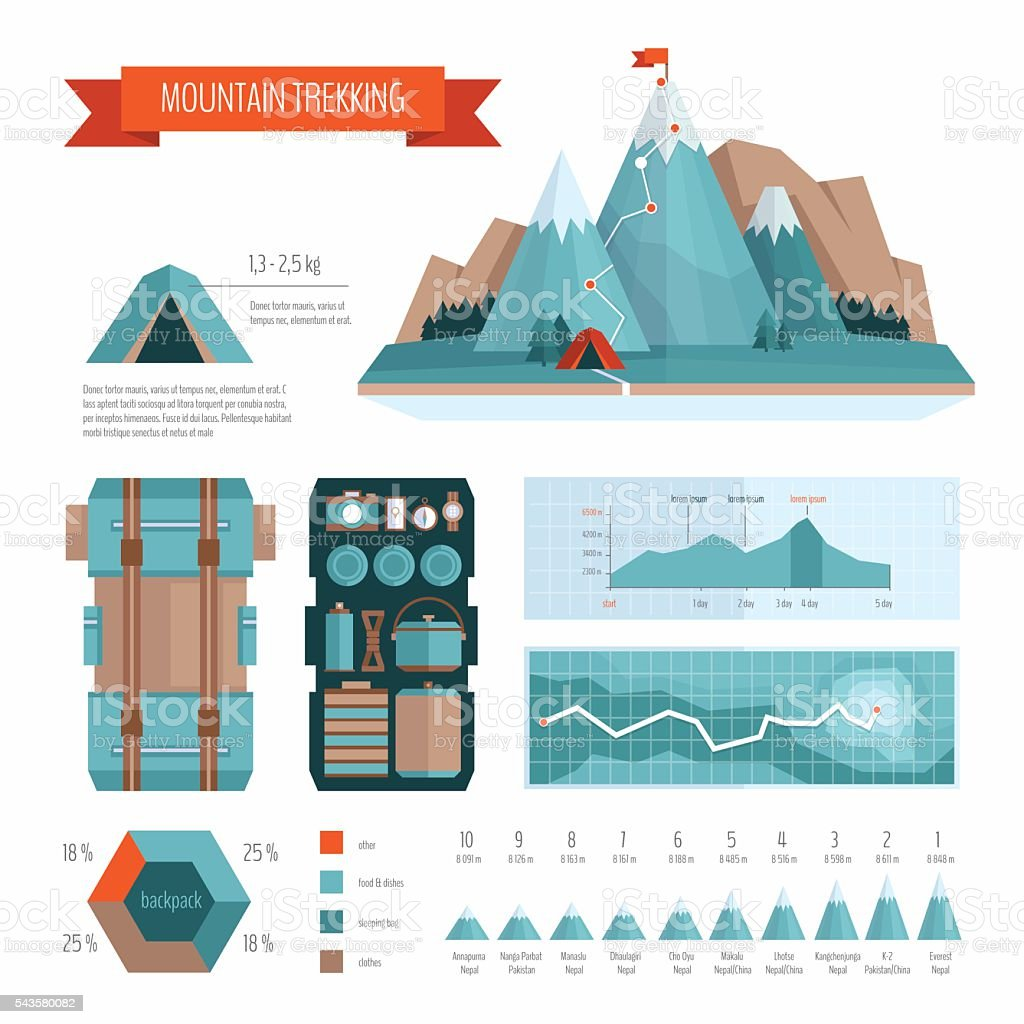 Mountain trekking and hiking infographics. vector art illustration