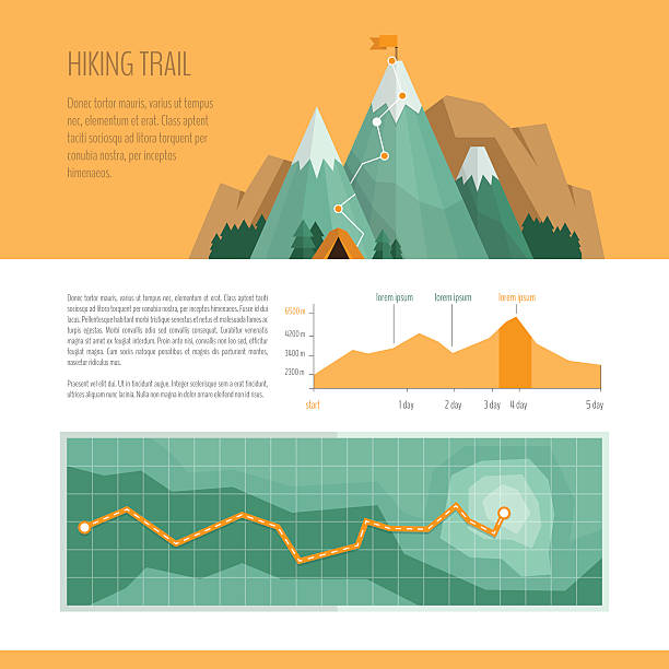 Mountain trekking, hiking, climbing and camping concept. vector art illustration