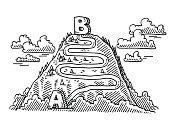 Mountain Trip A To B Concept Drawing