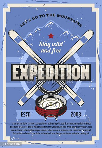 Winter mountain expedition, extreme travel trips adventure vintage poster. Vector mountaineering and outdoor hiking camp club tourism, snow mountain peak, skies and nature exploration compass