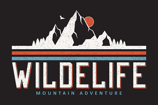 Mountain typography graphics for slogan tee shirt. Outdoor adventure print for apparel, t-shirt design with grunge. Vector