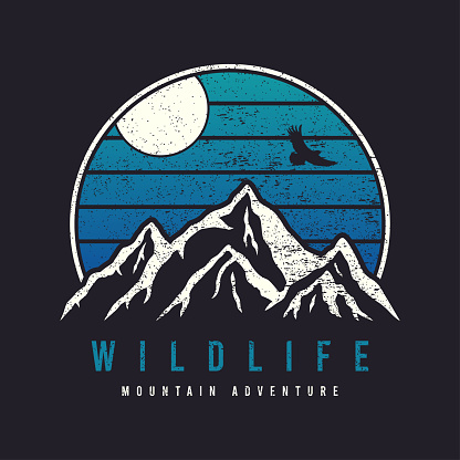 Mountain typography graphics for slogan tee shirt with eagle. Mountain adventure print for apparel, t-shirt design with grunge. Wildlife slogan. Vector