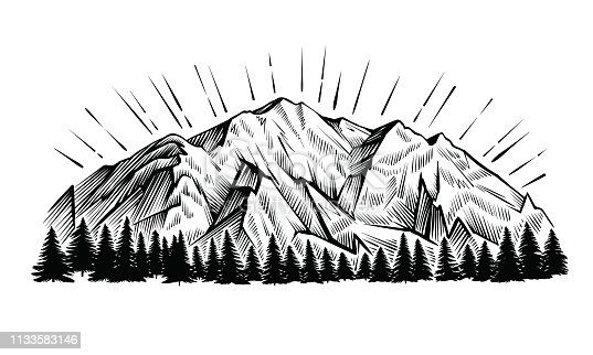Mountains vector vintage illustration. Black and white engraving landscape with peak and forest.