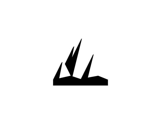 stockillustraties, clipart, cartoons en iconen met pictogram bergvector. geïsoleerd heuvelflatsymbool - stickers met relief