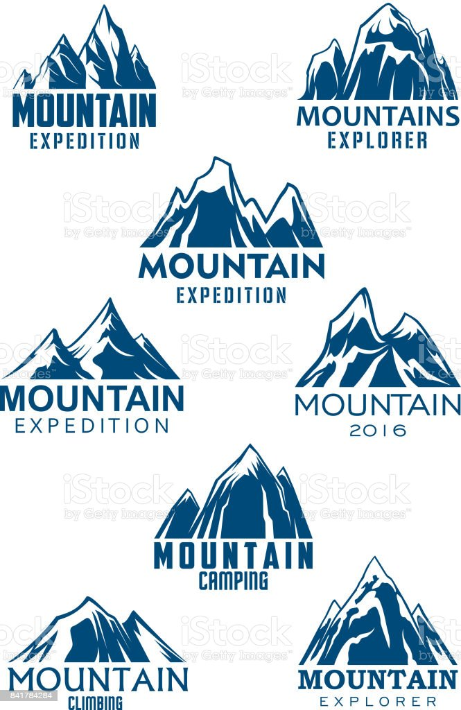 Mountain vector icons for climbing or hiking sport vector art illustration