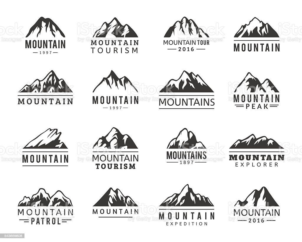 Mountain vector icons set vector art illustration
