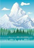 Illustration of mountain peak.
