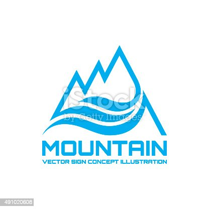 Mountain - vector sign concept illustration in line-art style for creative design projects. Design element.