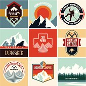 Mountain vector labels set