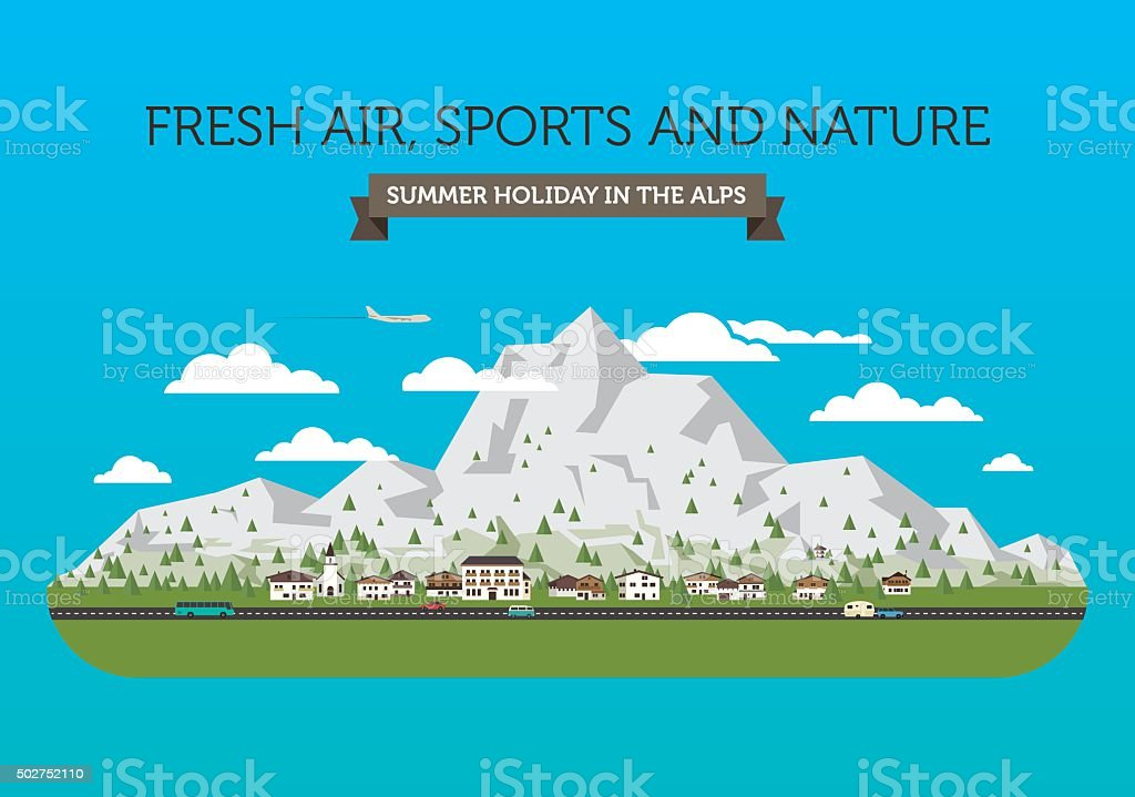 Mountain view vector art illustration
