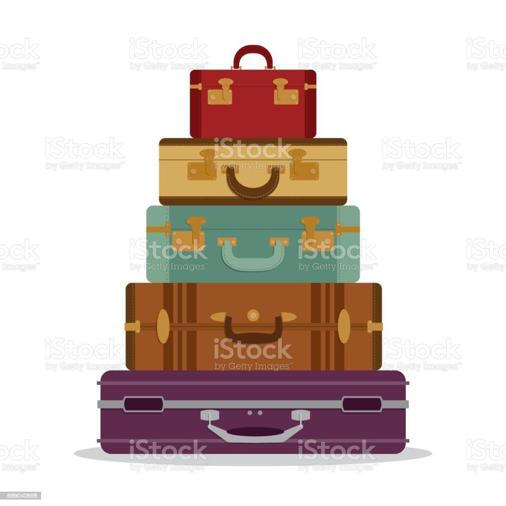Mountain vintage suitcases vector art illustration