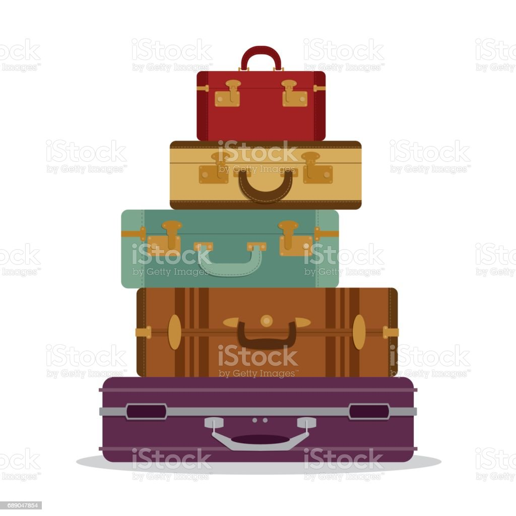 pile of old vintage suitcases clip art, vector images