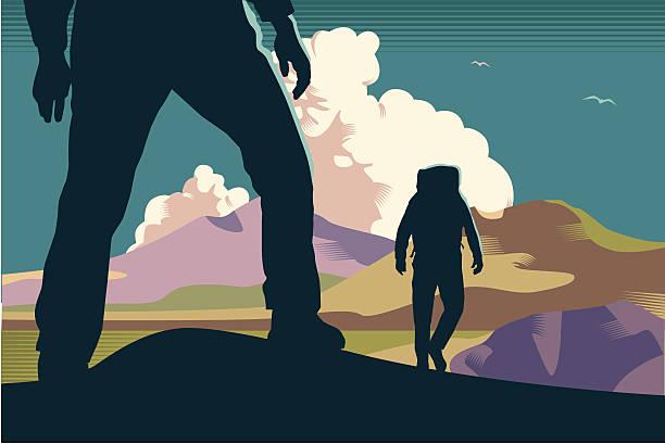 ilustrações, clipart, desenhos animados e ícones de montanha walkers/caminhantes - explorador