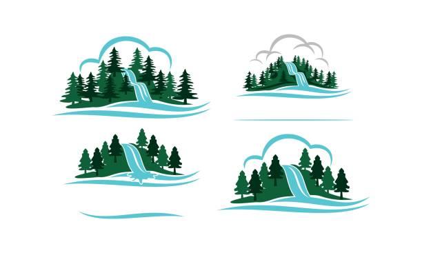 mountain waterfall template set - rzeka stock illustrations