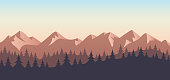 Mountain wilderness trees sunset landscape background.