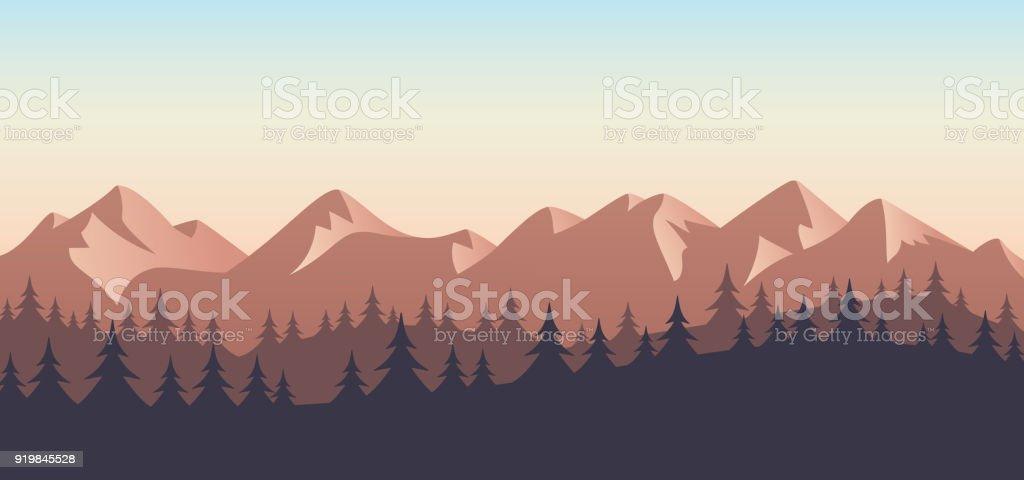 Mountain Wilderness Landscape Background vector art illustration