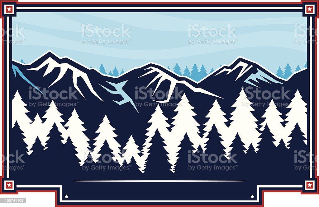 Mountain winter scene vector art illustration