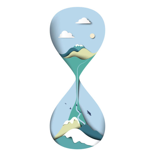 mountain with blue sky landscape in sand houseglass/clock, paper art/paper cutting style - river paper stock illustrations, clip art, cartoons, & icons