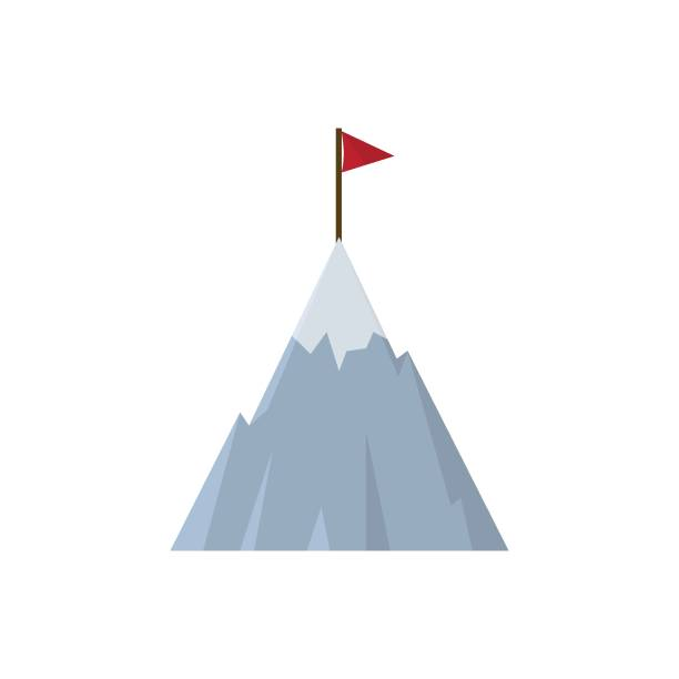 Mountain with Flag Icon Rock - Object, India, Mountain, Success, Flag mountain top stock illustrations
