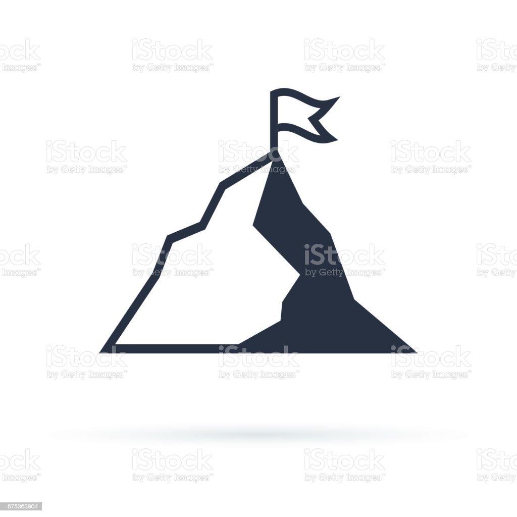Montagne avec drapeau vectoriel icône illustration isolé sur fond blanc - Illustration vectorielle