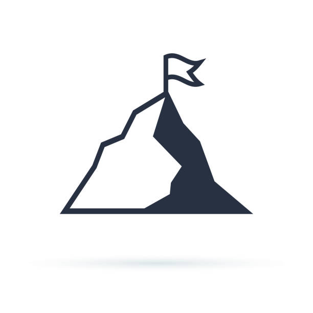 Mountain with flag vector icon illustration isolated on white background Mountain with flag vector icon illustration isolated on white background. Success icon. Peak of mountain as aim achievement or leadership illustration. mountain top stock illustrations