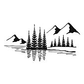 Mountain with pine trees and lake landscape black on white background. Hand drawn rocky peaks in sketch style. Vector illustration.