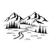 istock Mountain with pine trees and landscape black on white background. Hand drawn rocky peaks in sketch style. Vector illustration. 1279141837