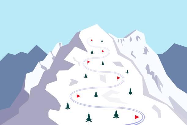 stockillustraties, clipart, cartoons en iconen met berg met skipiste, vector - skipiste