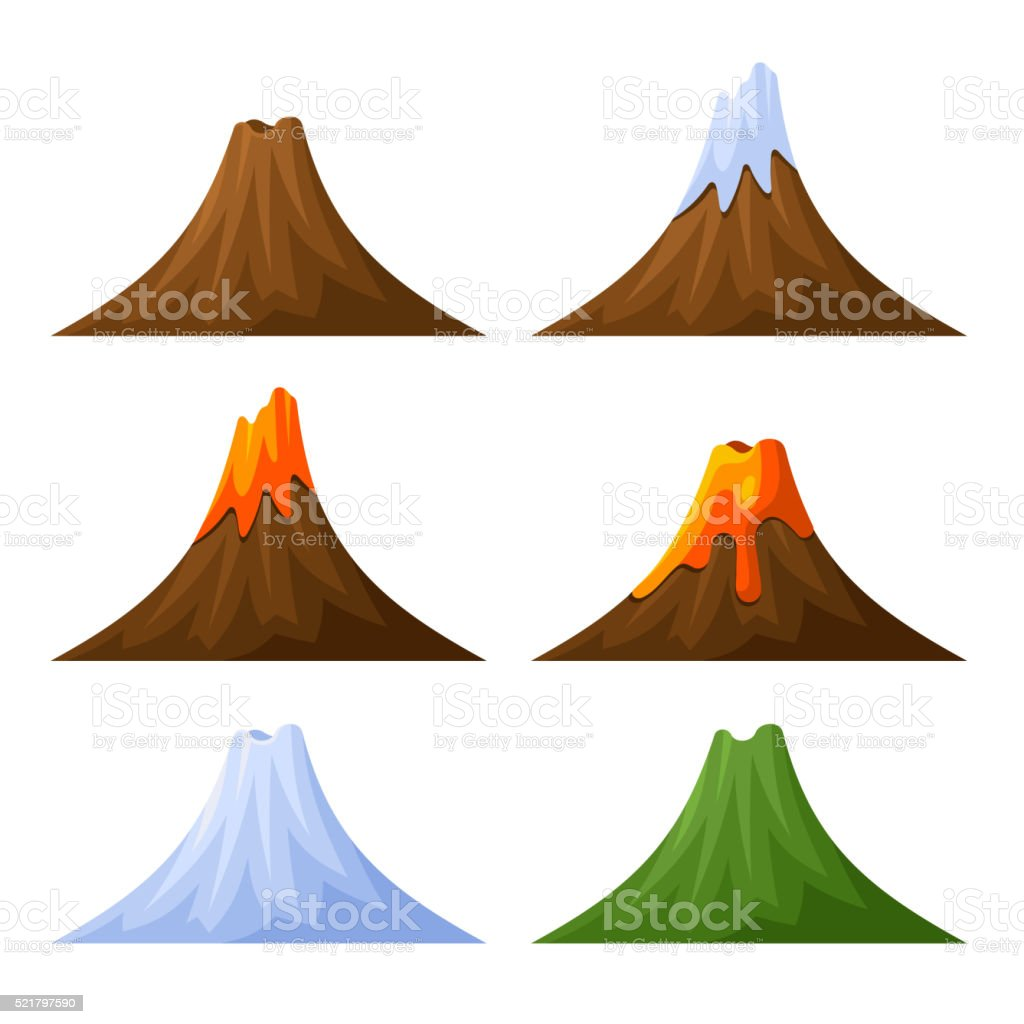 Mountain with Volcano, Forest and Snow Set. Vector vector art illustration