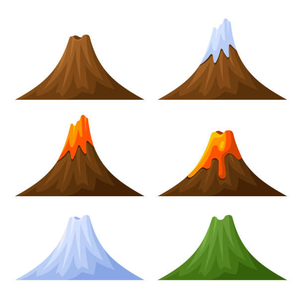 stockillustraties, clipart, cartoons en iconen met mountain with volcano, forest and snow set. vector - vulkaan